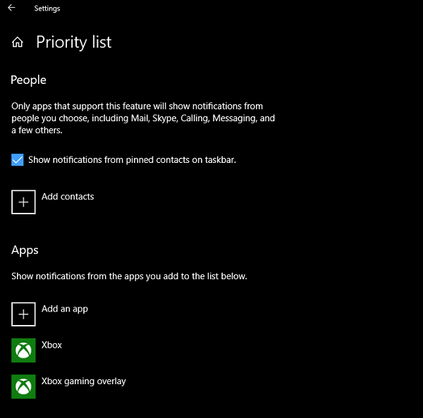 Focus Assist Option for People, Apps Windows 10