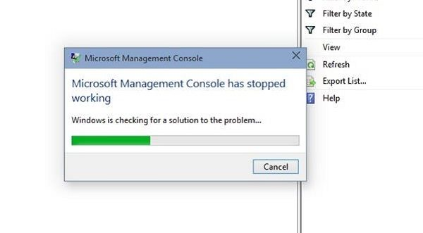Microsoft management console has stopped working