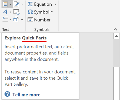 Quick Parts in Word & Outlook