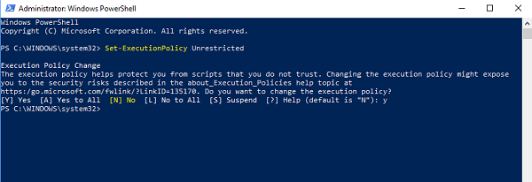 Set Execution Policy Unrestricted in Windows 10