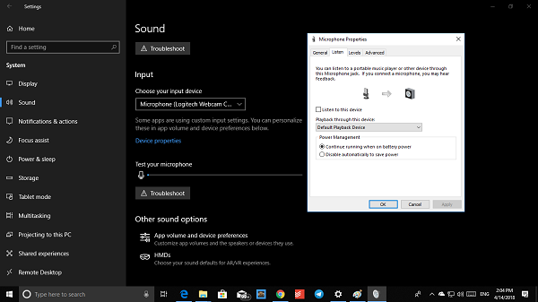 Sound Settings for Microphone on Windows 10