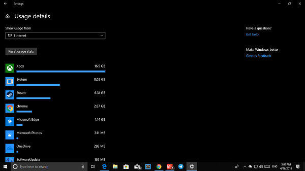 How to set Data Limit for Wireless and Ethernet Adapter on Windows 10