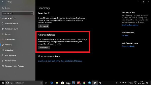 Windows 10 Advanced Startup Recovery Options