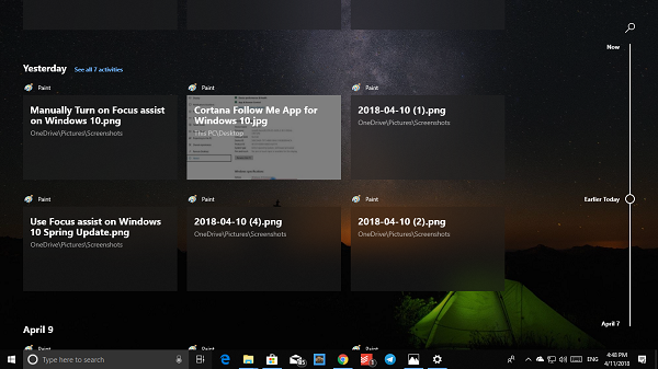 Windows 10 Timeline History