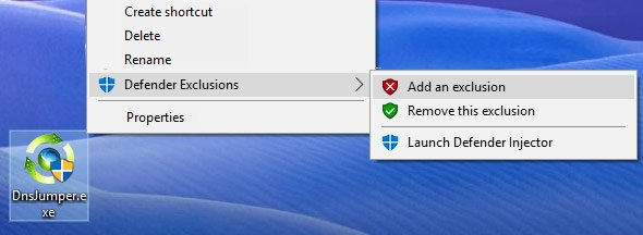 Add An Exclusion context menu item for Windows Defender