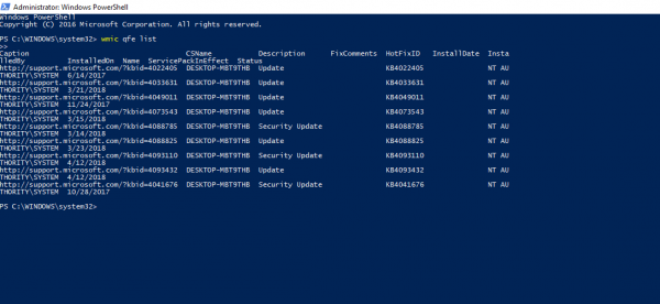 How to check Windows Update History using PowerShell