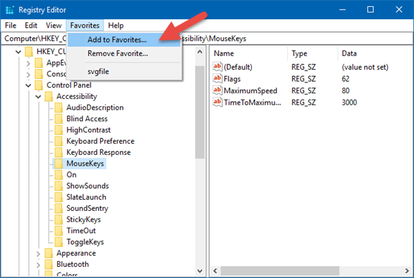Add Favorites to Windows Registry Editor