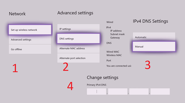 change DNS Server setting on Xbox One