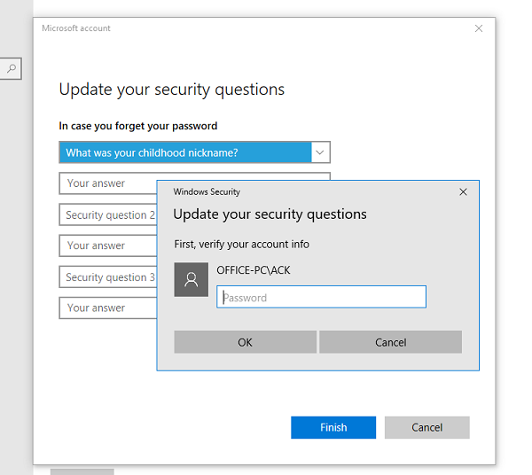 Confirm Account when updating security questions for local account