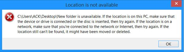 Desktop Location is not available