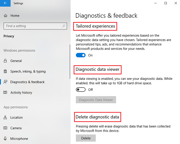 Manage Windows Privacy Permissions on Windows 10