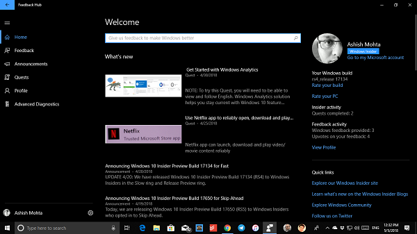 complain about or send feedback to Microsoft about Windows 10