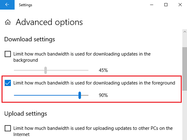Limit bandwidth of foreground downloads in Windows 10