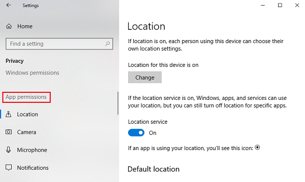 Manage App permissions on Windows 10