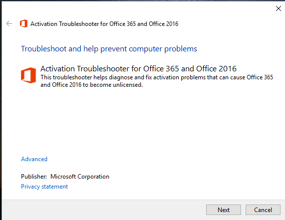 Office 365 Activation Error Troubleshooter