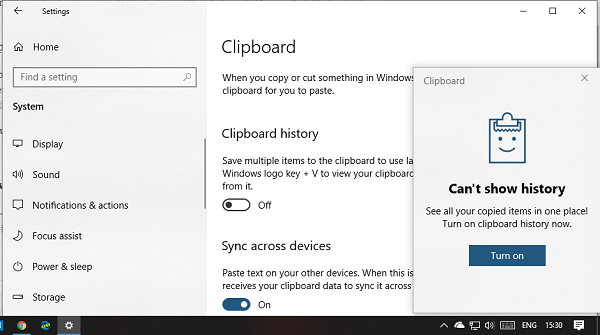 Turn off Cloud History in Windows 10