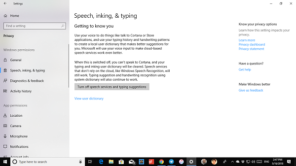Turn off Speech Inking Typing Windows 10
