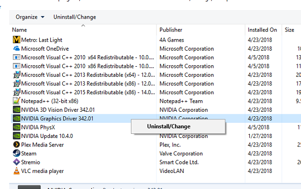 Uninstall Display Driver Program from Windows 10