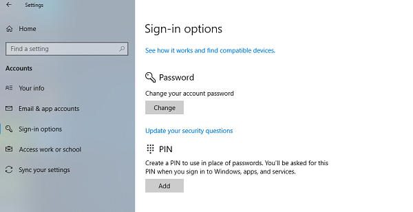 Update Security Questions in Windows 10 Local Account