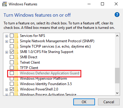 enable Application Guard for Microsoft Edge in Windows 10