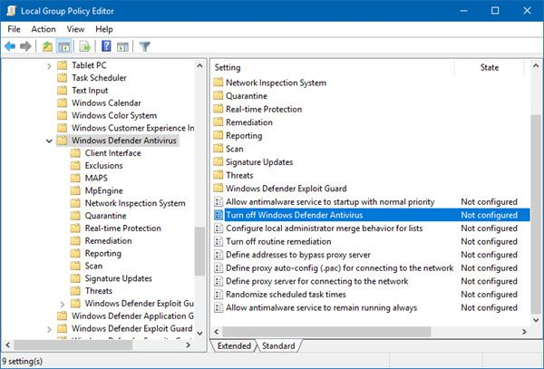 Windows Defender is turned off by Group Policy 1