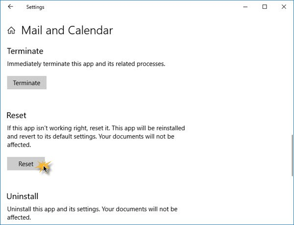 Windows Mail and Calendar app won't print