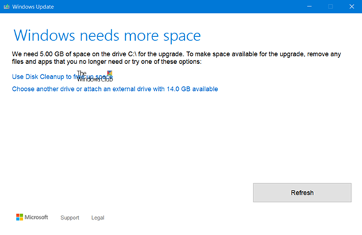 Windows needs more space 10