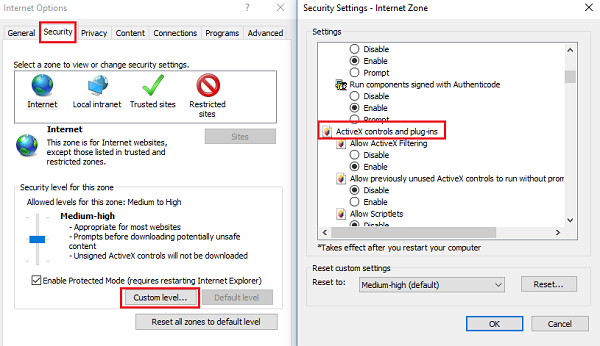 How to use ActiveX Controls for Internet Explorer 11