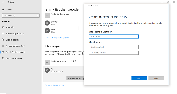 skip security questions when setting up a local user account