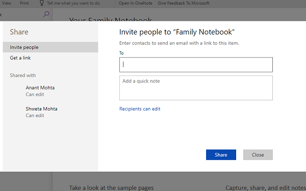 Family Notebook Members Permissions