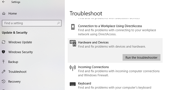 Hardware Troubleshooter for Windows 10