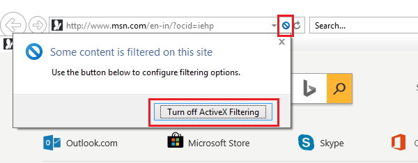 How to turn OFF ActiveX filtering for individual websites