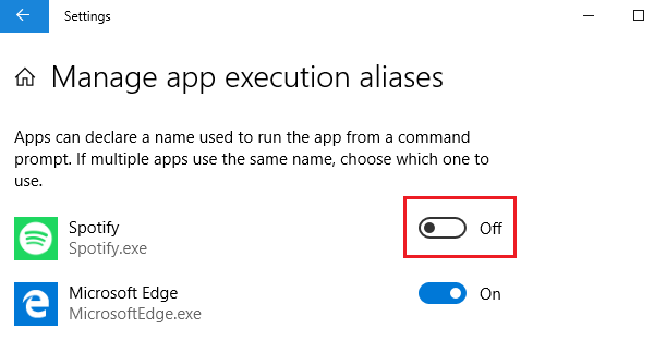 How to manage App execution aliases on Windows 10