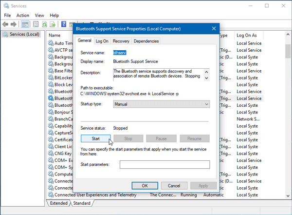 Windows was unable to connect with your Bluetooth network device