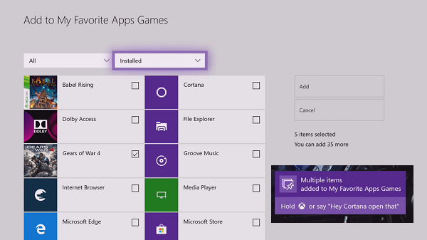 Add Apps Games to Xbox One