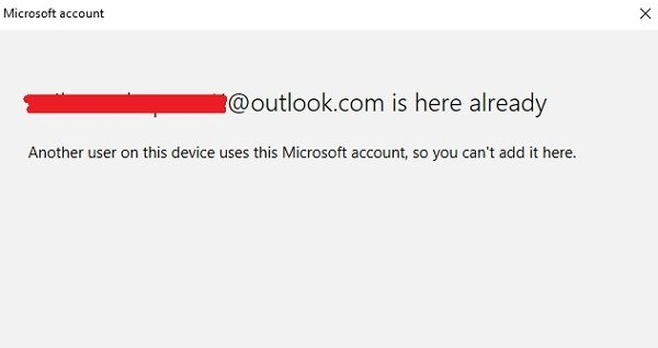 Another user on this device uses this Microsoft account