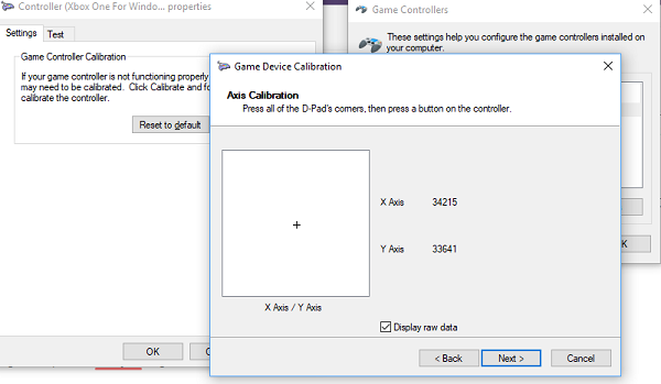 Calibrate Wizard in Windows 10 for Controller