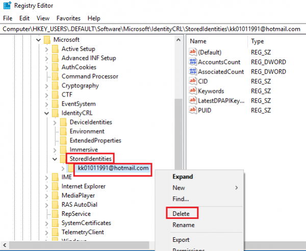 Delete account from registry editor
