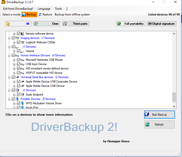 Portable Windows Driver Backup Software