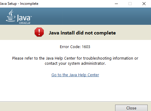 Java Update Install did not complete - Error Code 1603