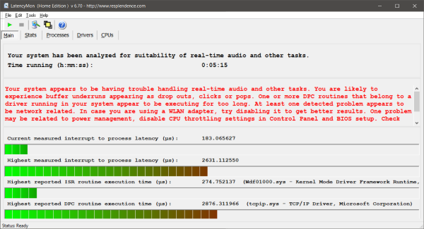 LatencyMon checks if your PC is suitable for real-time audio processing