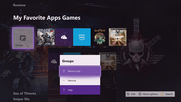 Move Groups in Home Screen