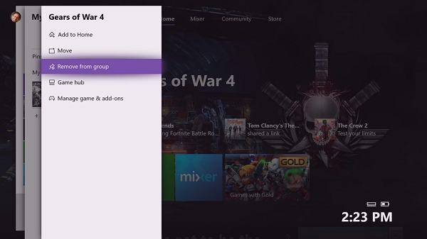 Remove an app or game from Xbox One Groups