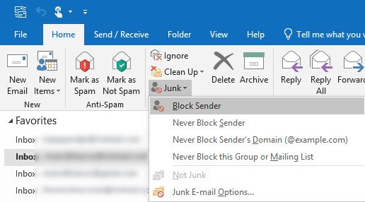 Report Phishing email in Outlook