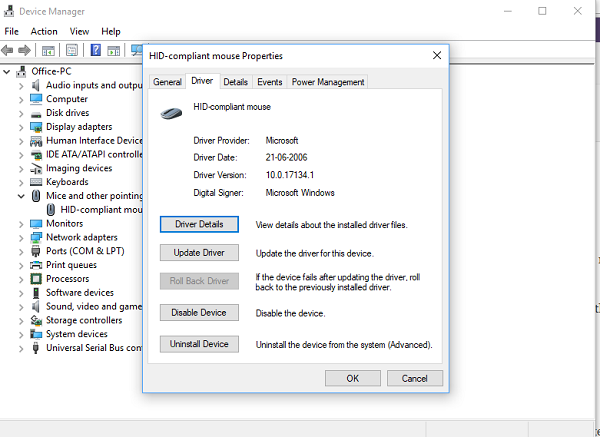 Update or Rollback Mouse Driver in Windows 10