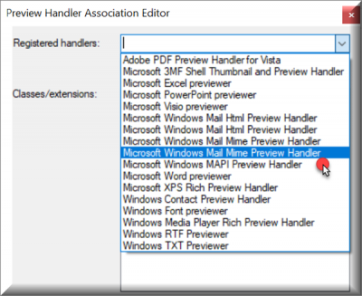 Preview Handler Association Editor