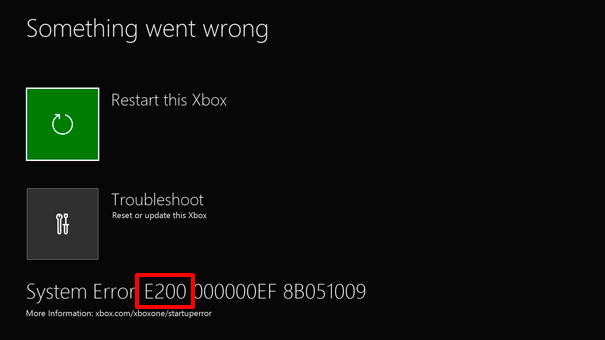 Resolve Xbox One startup errors or E error codes