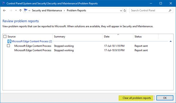 clear Problem Reports in Windows 10