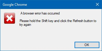 A browser error has occurred