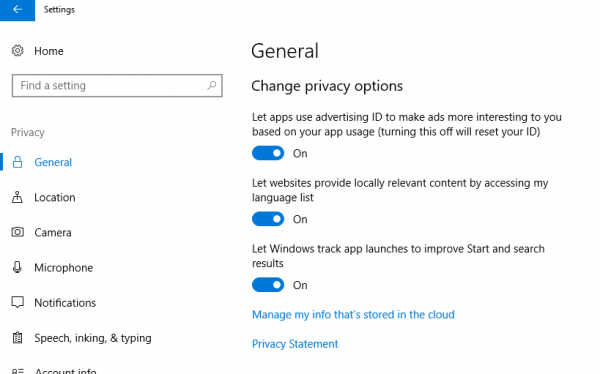 Enable or Disable App Launch Tracking in Windows 10